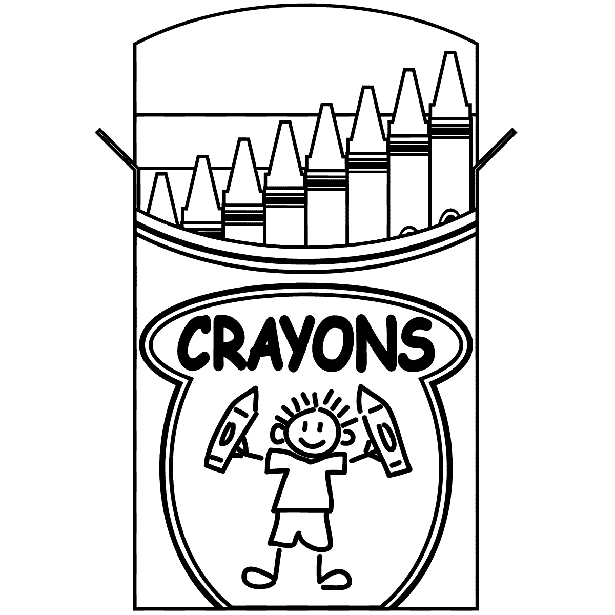 Crayon clipart black and white color.