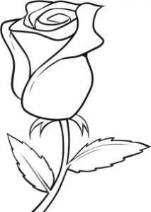 rose clipart black and white easy