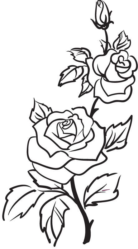 rose clipart black and white tattoo