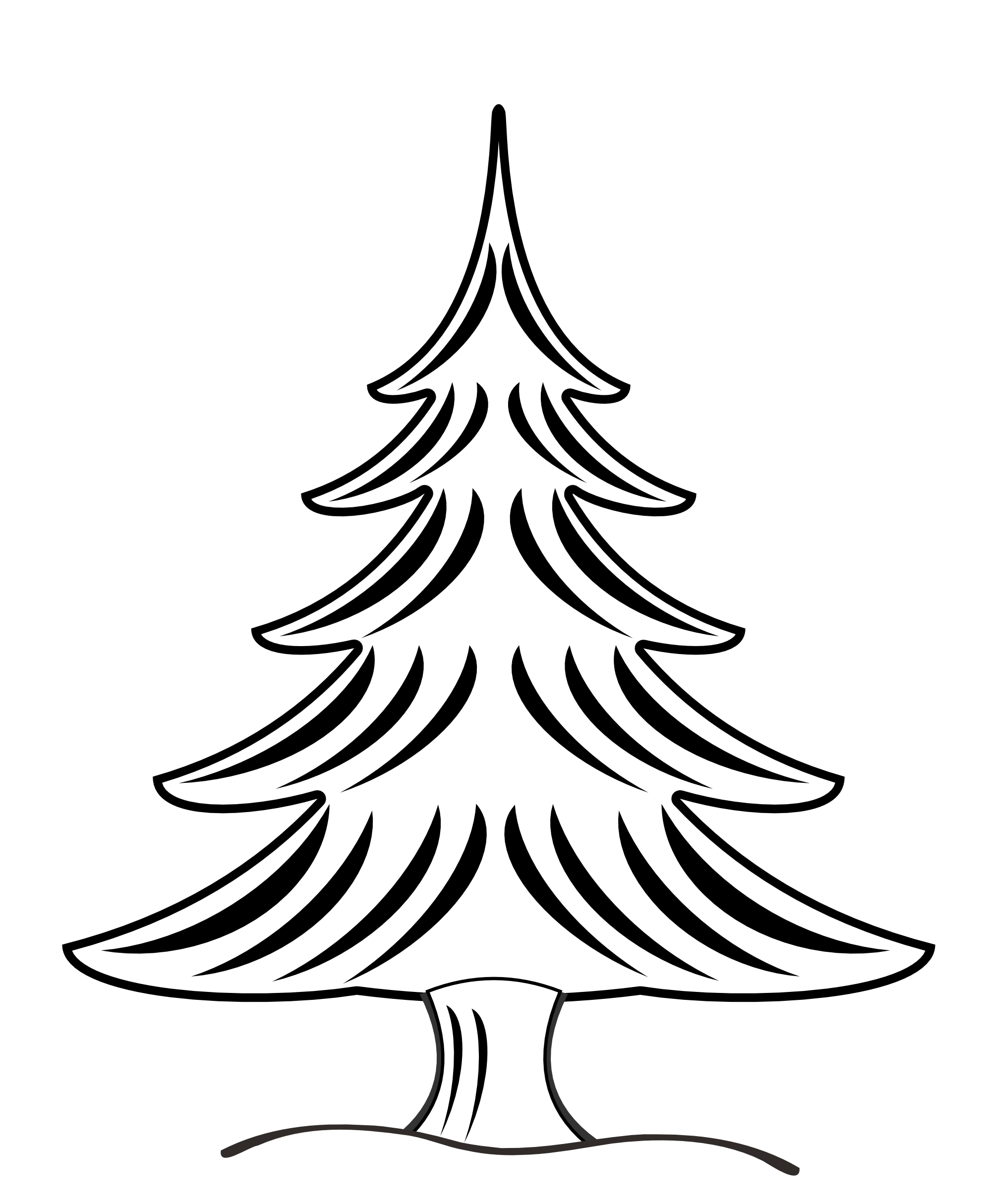 christmas tree clipart black and white abstract
