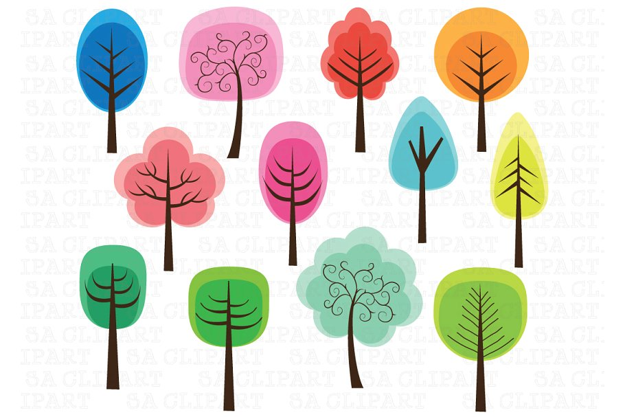 clipart trees colorful