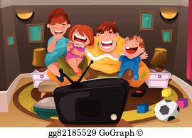 watch tv clipart family