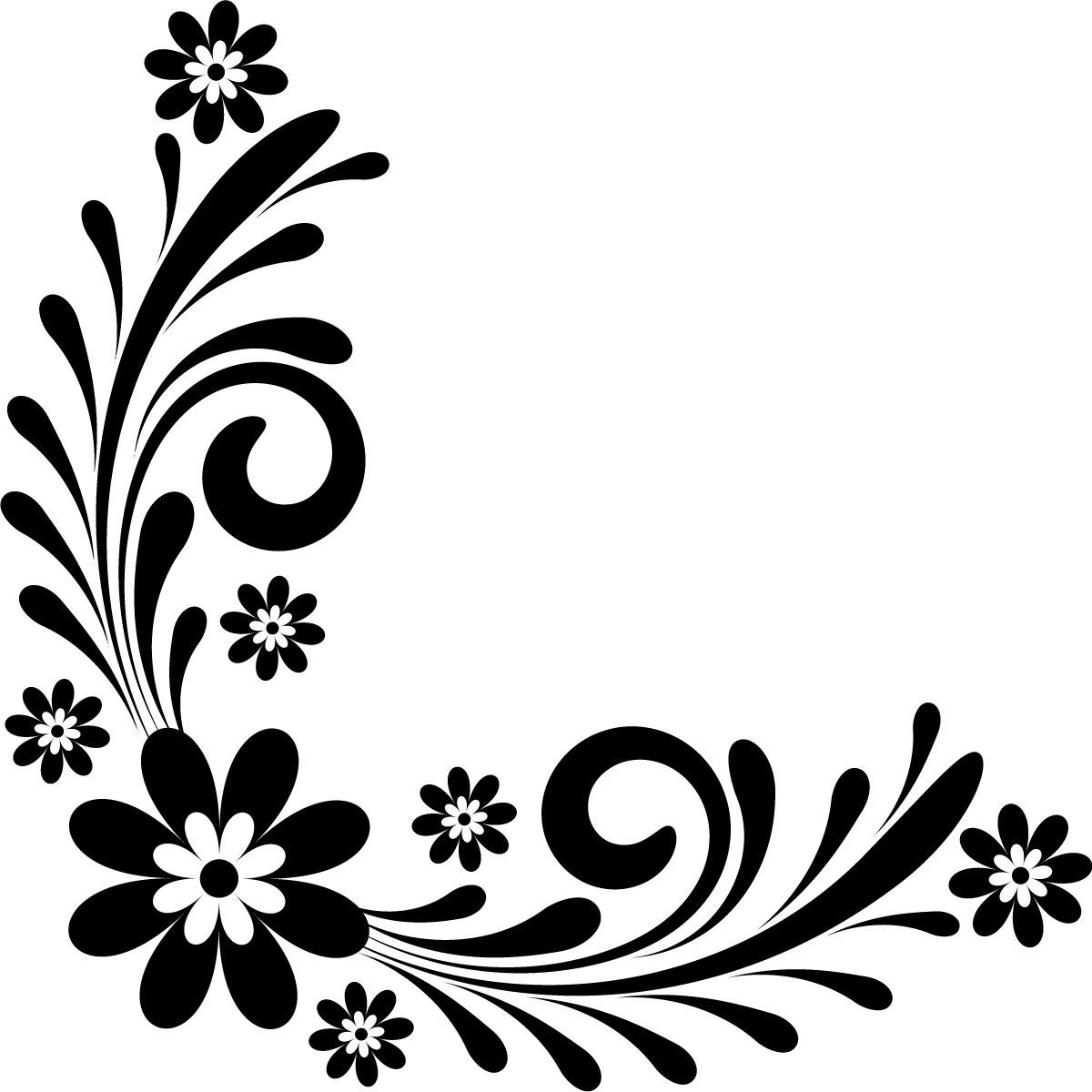 flower black and white clipart corner