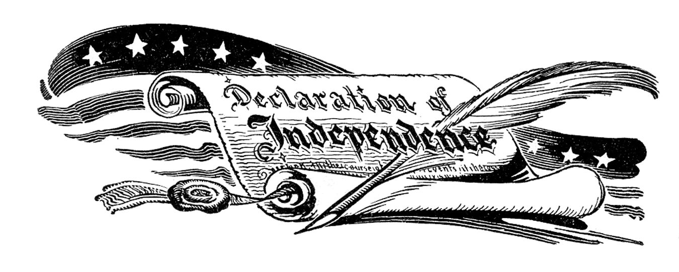 Declaration of independence clipart reading.