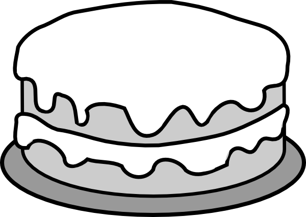 birthday cake clipart black and white vector