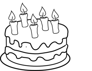 birthday cake clipart black and white outline
