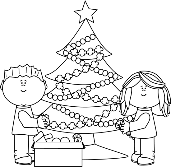 christmas clipart black and white kids