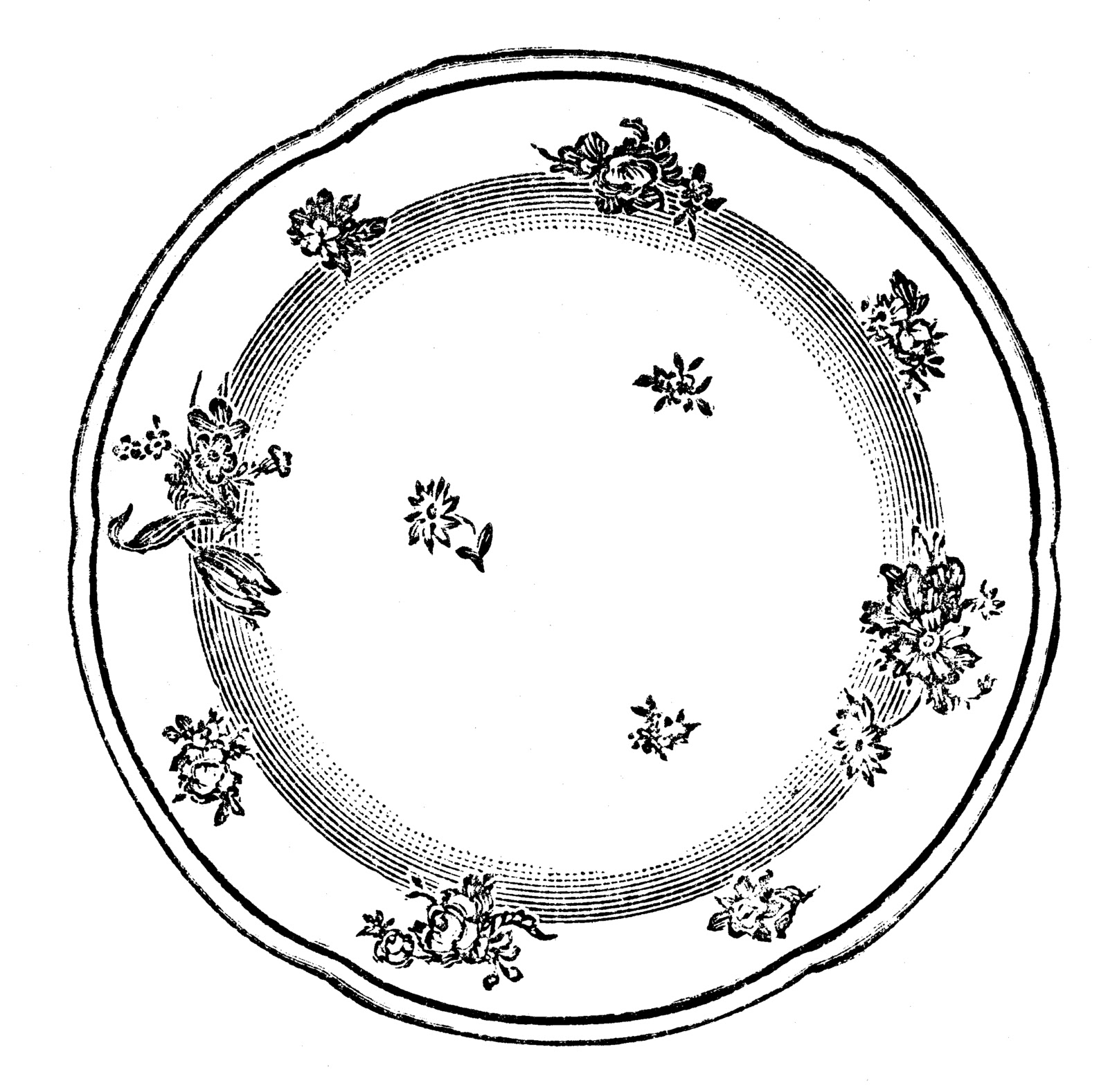 Dish clipart black and white.