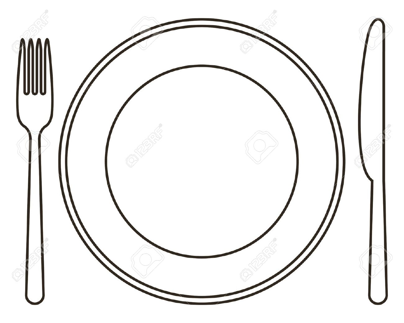 Dish clipart plate outline.