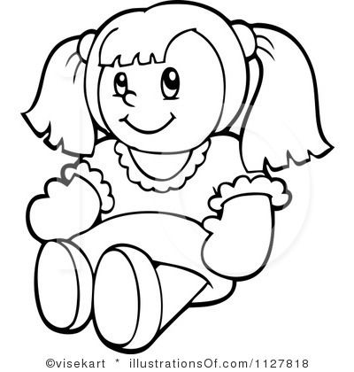 doll clipart black and white