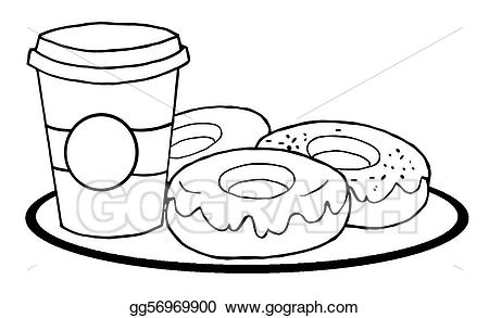 Donut clipart coloring page.