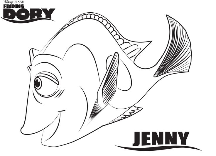 Dory clipart coloring page baby.