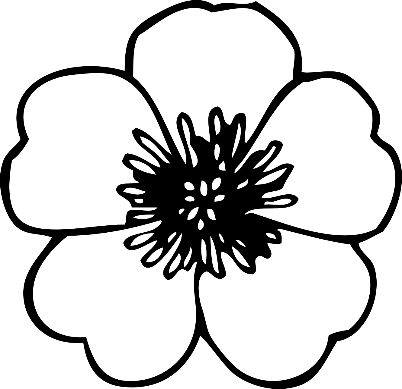 flower black and white clipart transparent