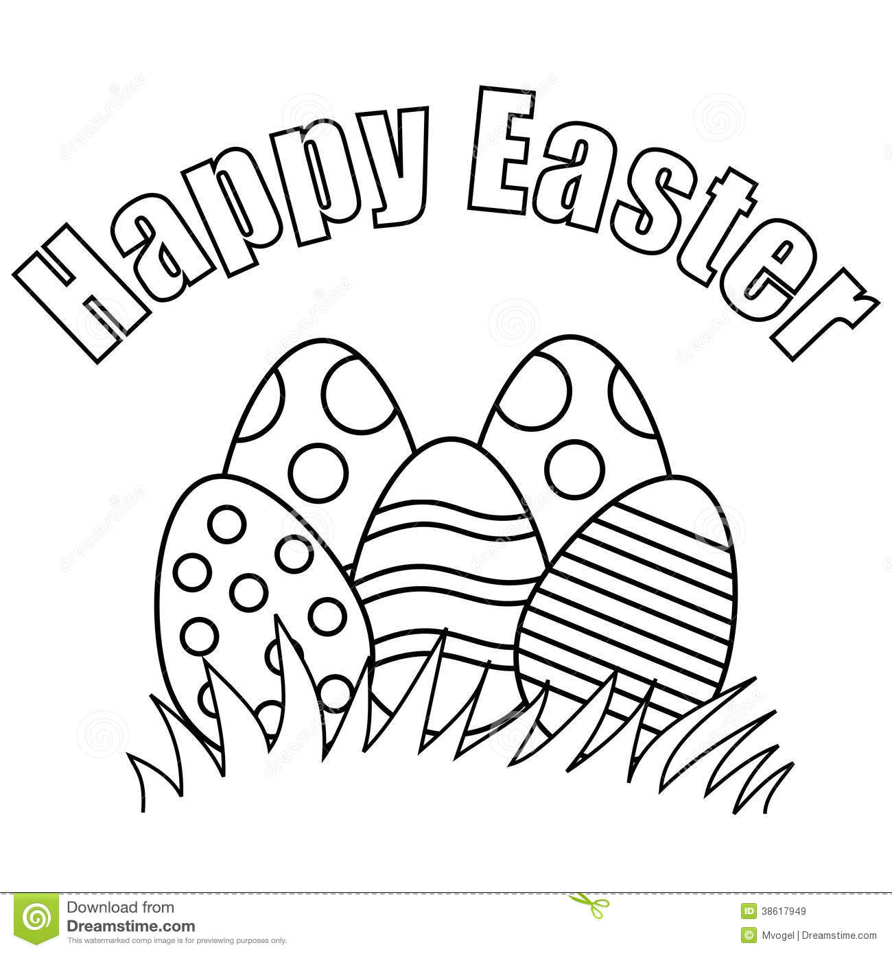 easter black and white clipart happy