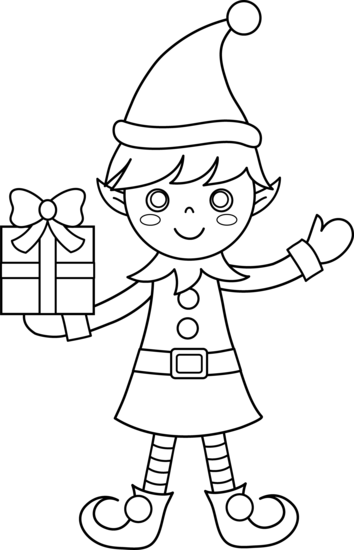 elves clipart coloring page