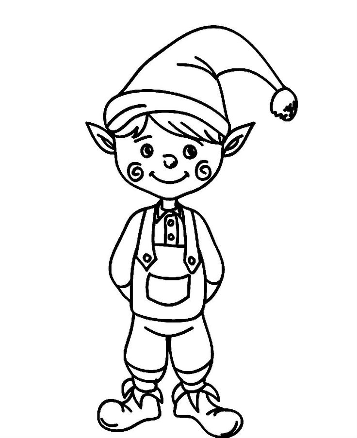 Elves clipart coloring page.