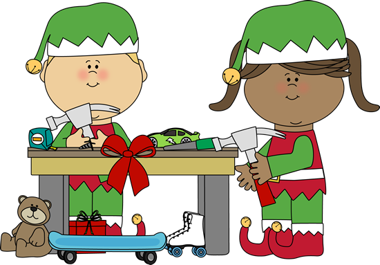 elves clipart workshop