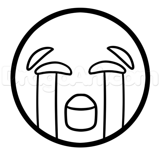 crying emoji clipart outline