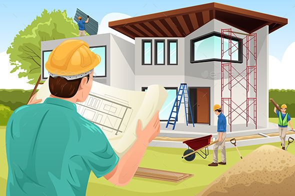 Engineer clipart constructing a building.