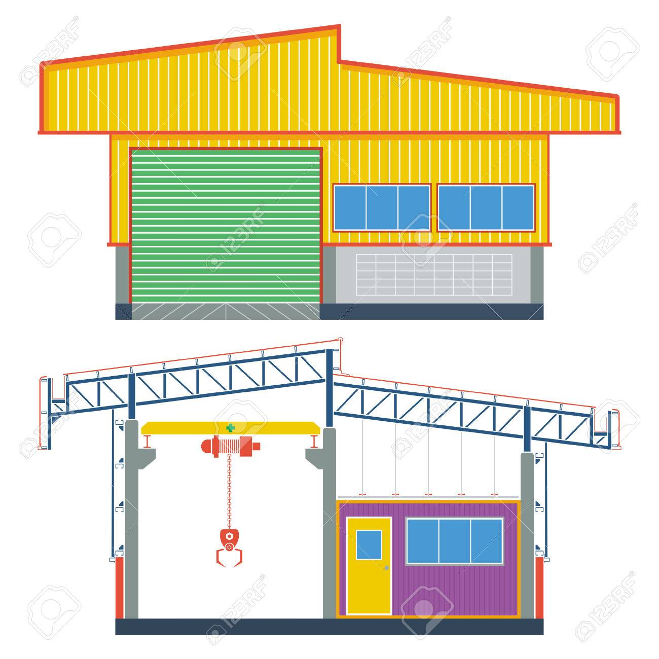 Factory clipart industrial shed.