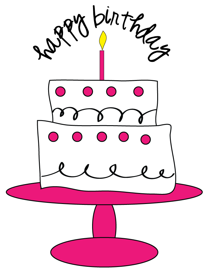 birthday cake clipart black and white 12th