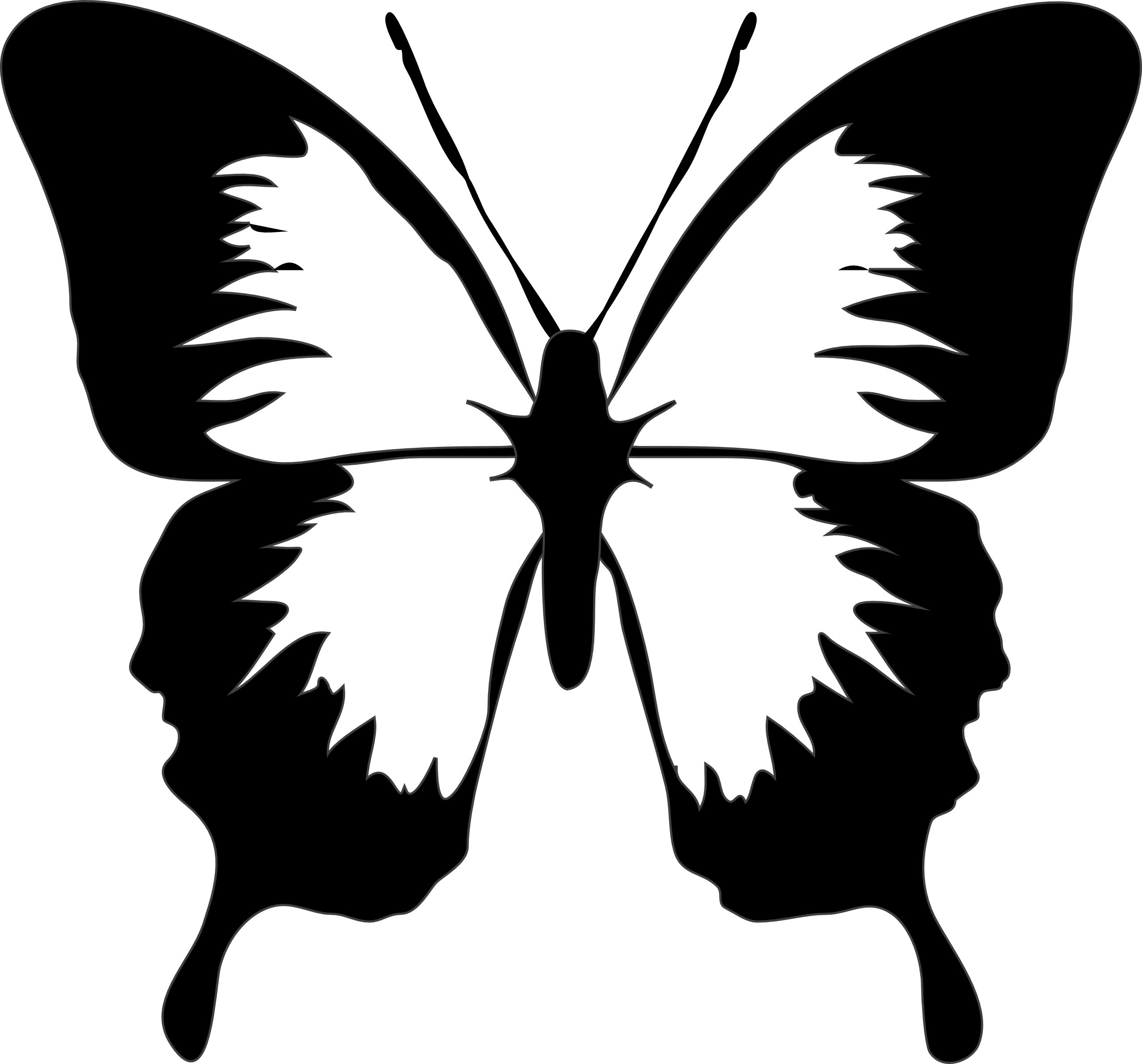 butterfly black and white clipart silhouette