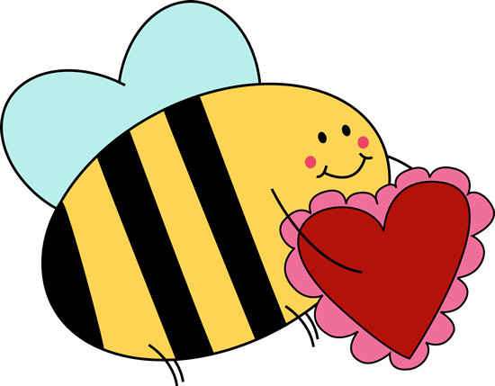 February clipart red bee.