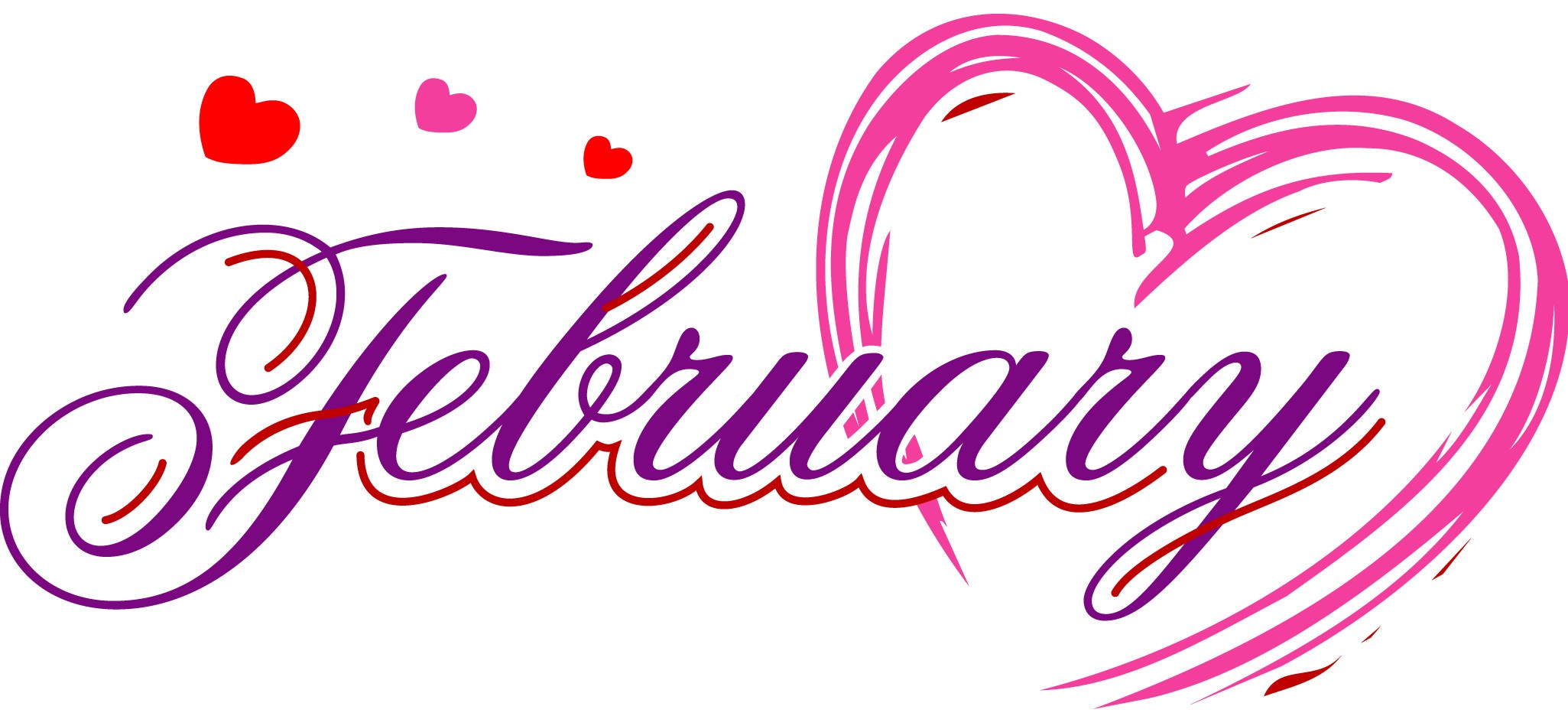 February clipart word.