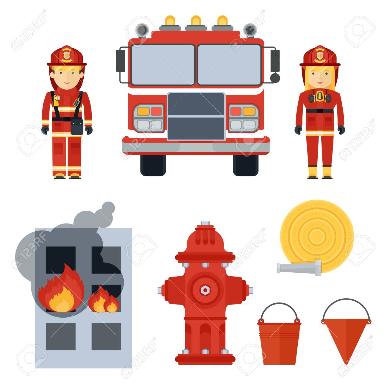 Firefighter clipart accessories.