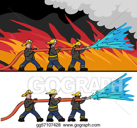 Firefighter clipart hose drawing.