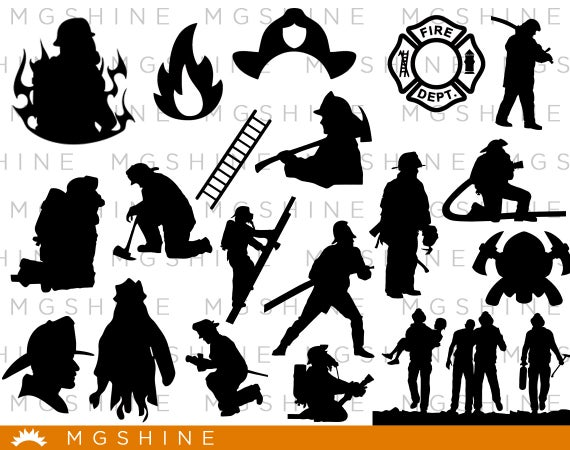 Firefighter clipart silhouette.