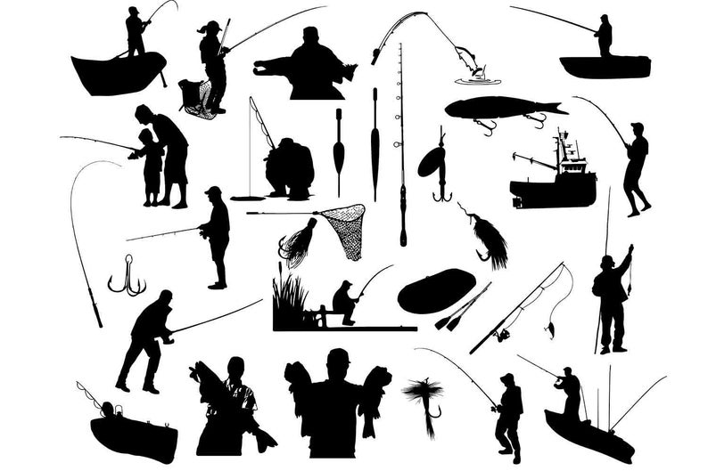Fishing clipart silhouette.