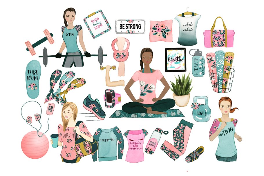 Fitness clipart pink.