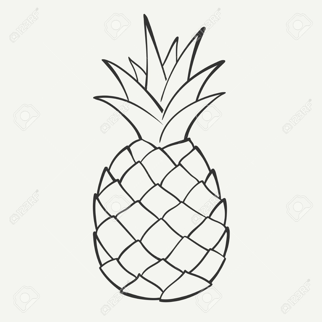 pineapple clipart black and white outline