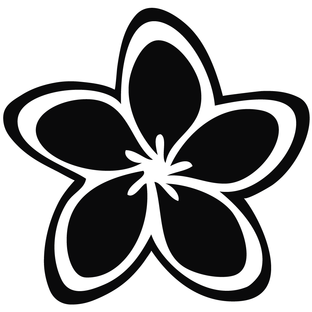 flower black and white clipart silhouette