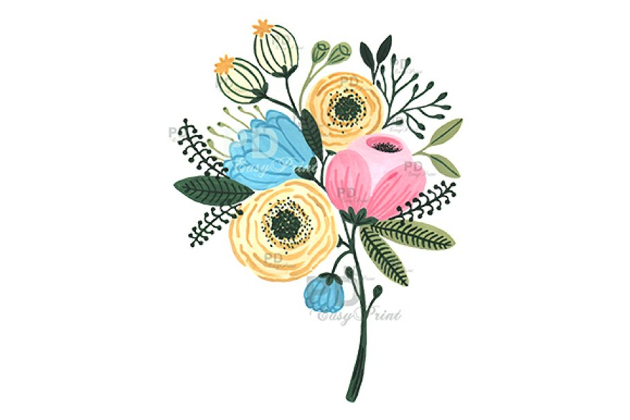 flower bouquet clipart watercolor