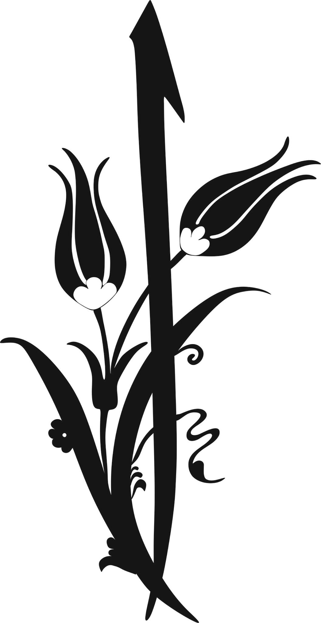 Black and white flowers clipart vector.