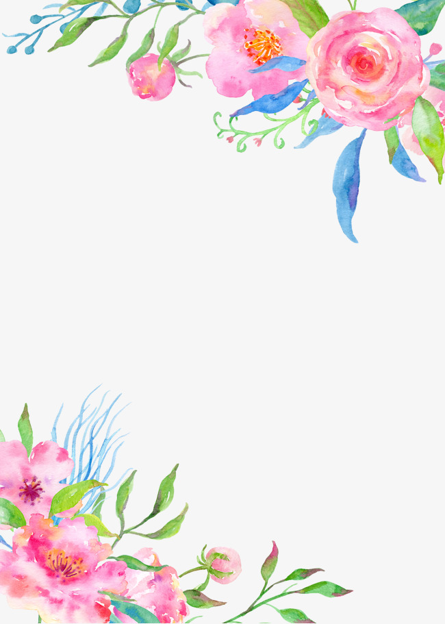 Flowers clipart painted.