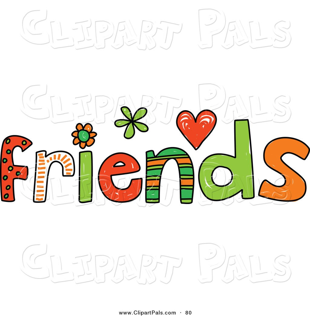 friends clipart word