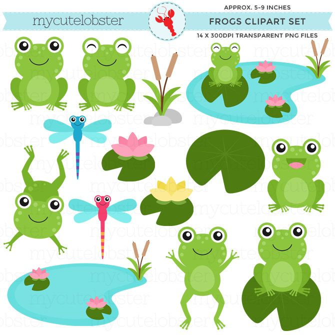 Frog clipart etsy.