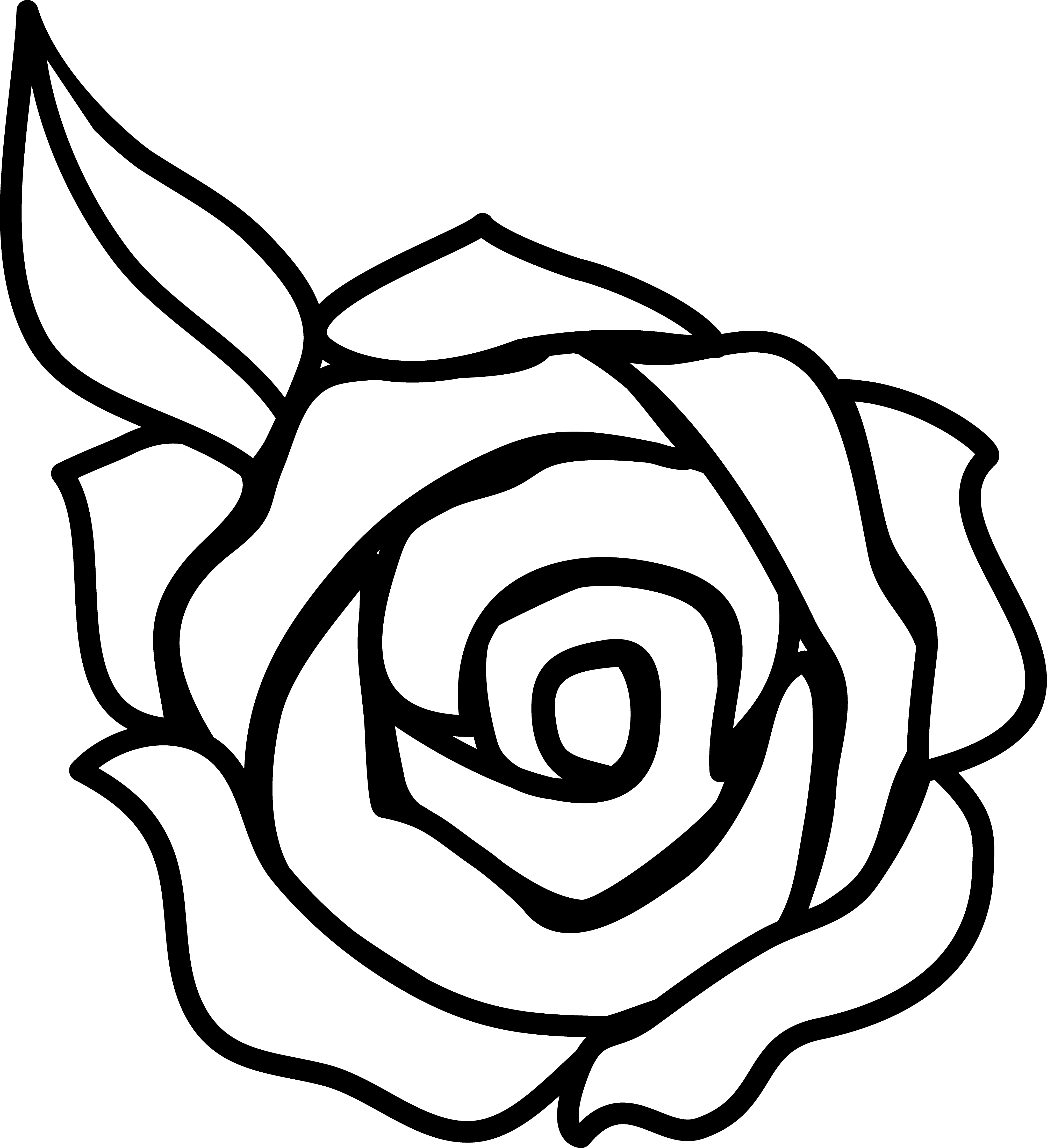 rose clipart black and white outline