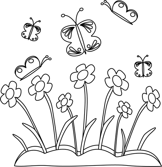 flower black and white clipart butterfly