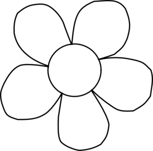 flower black and white clipart simple