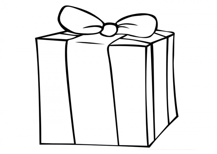 Gift clipart coloring page.