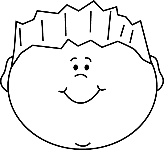 boy clipart black and white happy