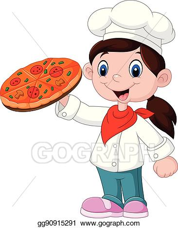 Girl clipart pizza.