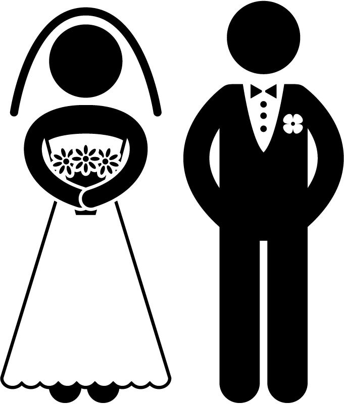 bride and groom clipart outline