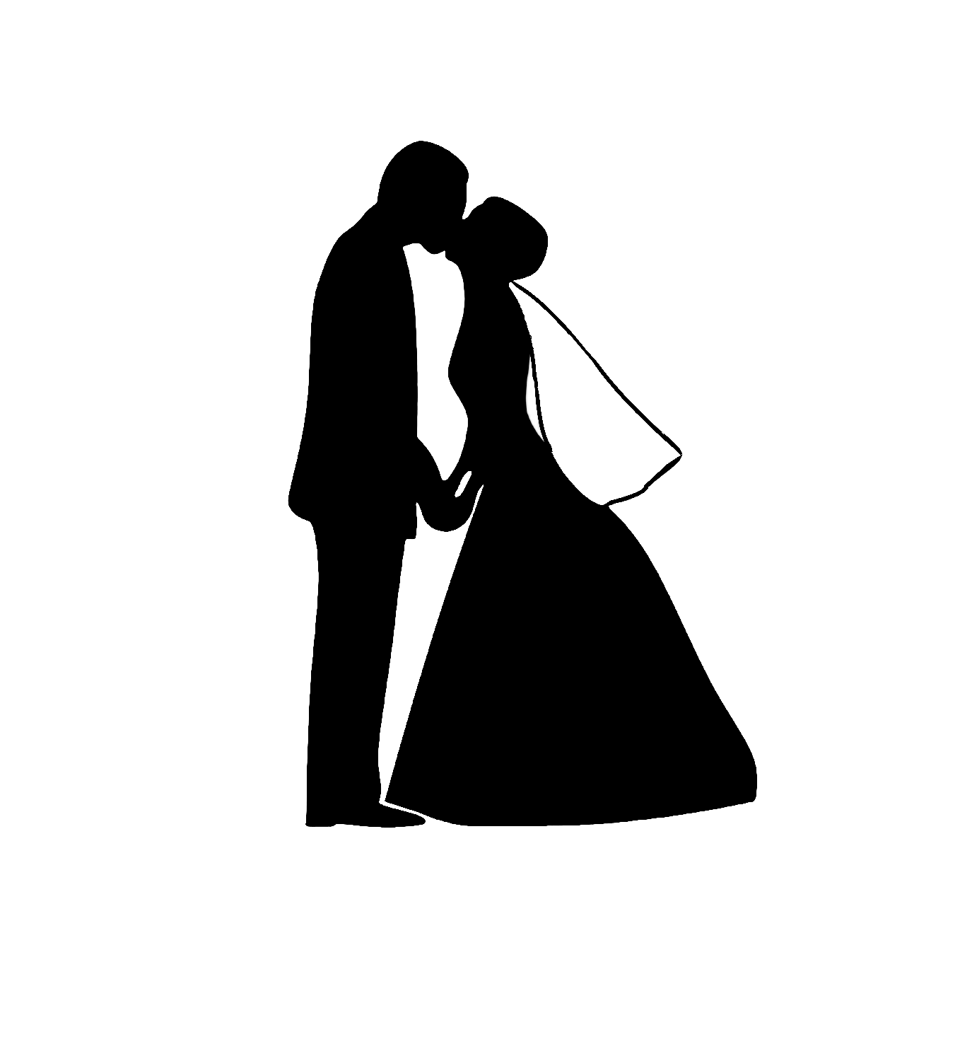 bride and groom clipart modern