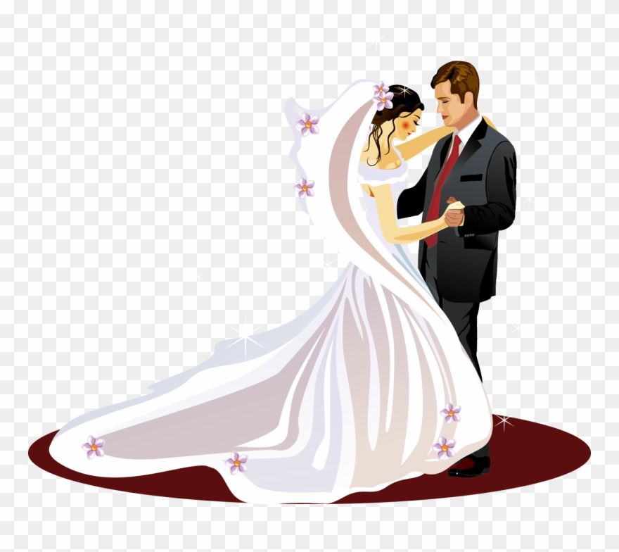 bride and groom clipart vector