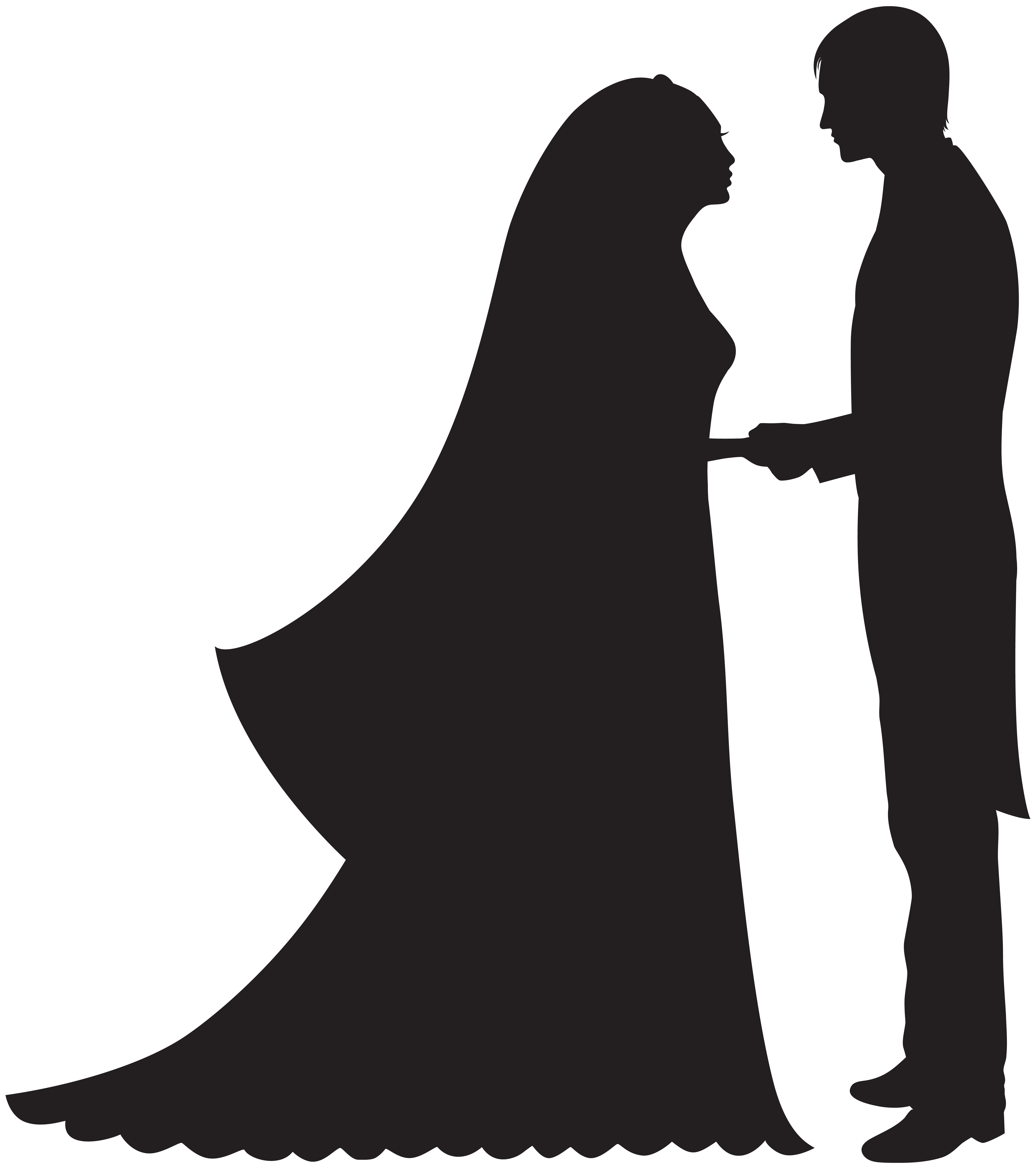 bride and groom clipart white